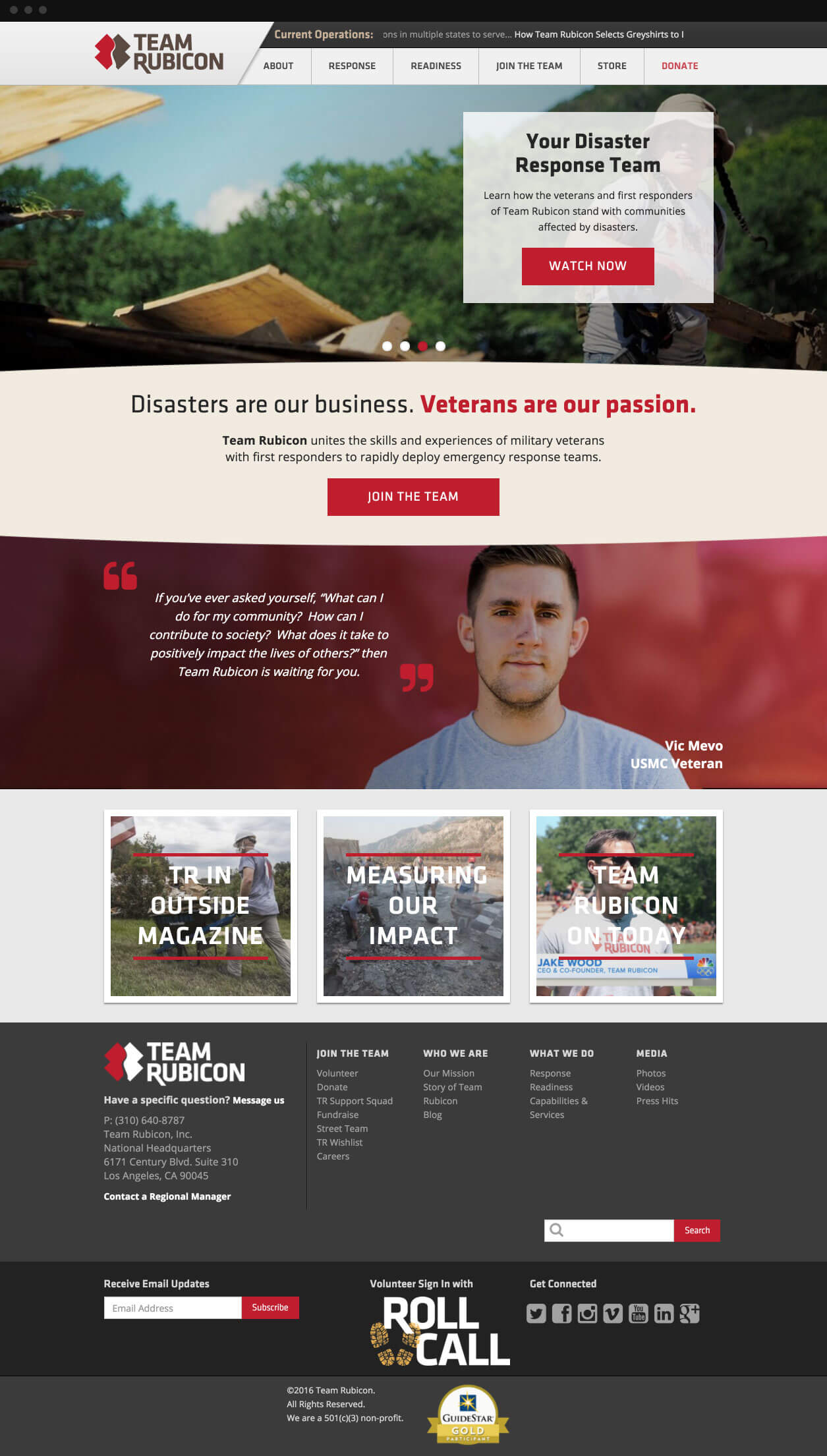 Team Rubicon Homepage Concept