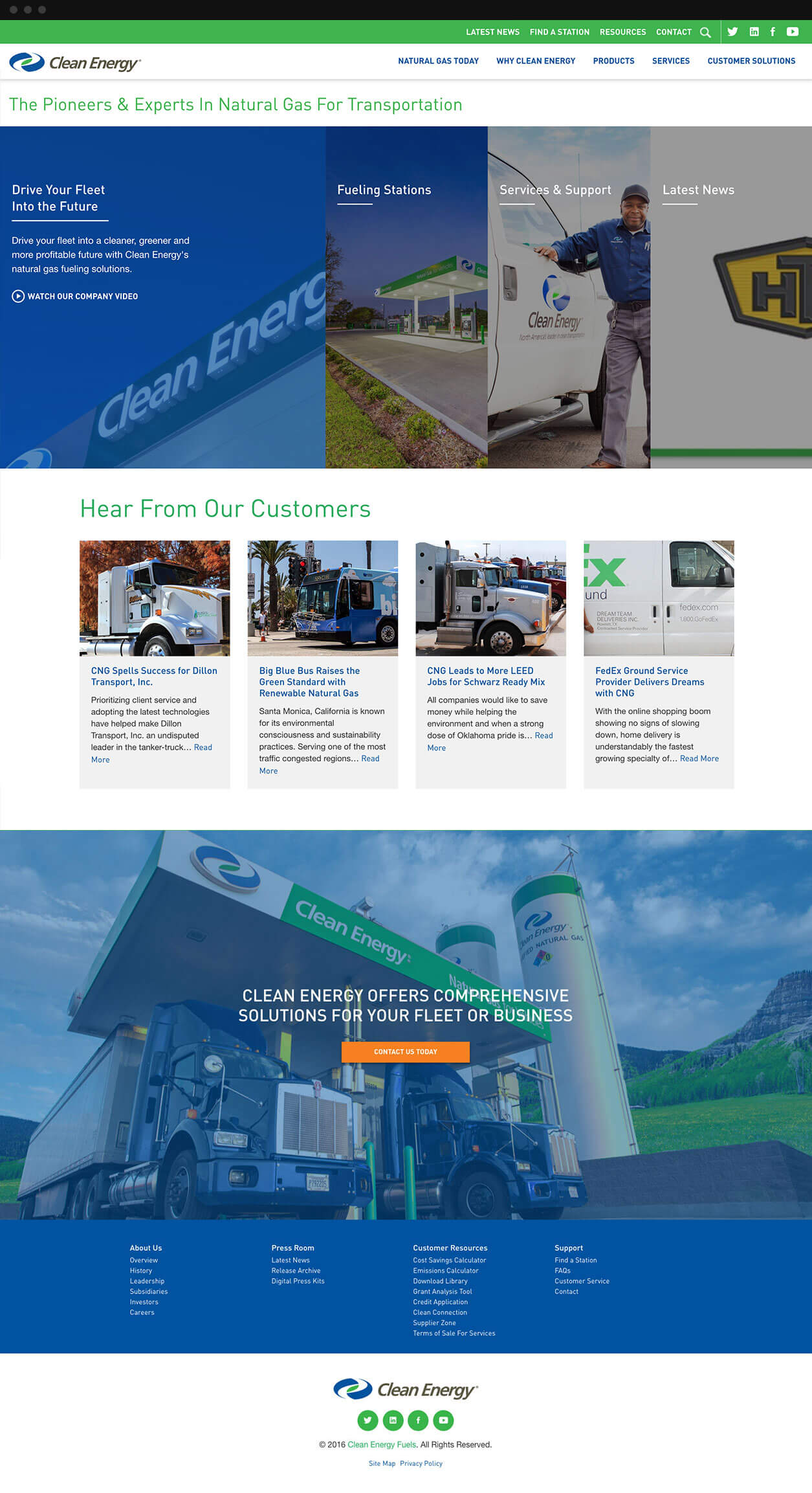 Clean Energy Fuels Homepage Designed by ESW